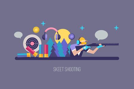 Shooting Skeet. Set of vector elements. Vector illustration. The elements of design.