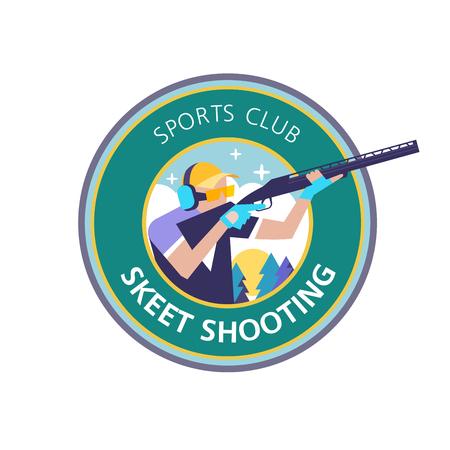 スキートを撮影します。ベクトル スポーツ クラブ。
