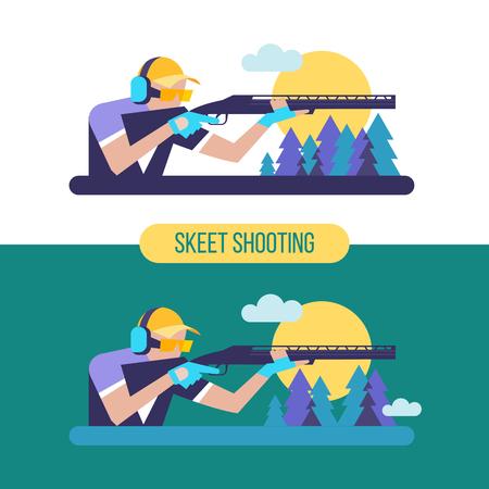 Skeet shooter. Un sport professionnel. Emblème vectoriel. Banque d'images - 82862007