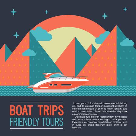 ボートツアーを楽しめます。ベクトル イラスト テキスト。夜の山の風景の背景に現代ヨット。  イラスト・ベクター素材