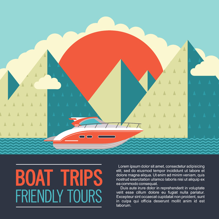 Boat trips. Vector illustration with place for text. Modern yacht in the background of a mountain landscape.