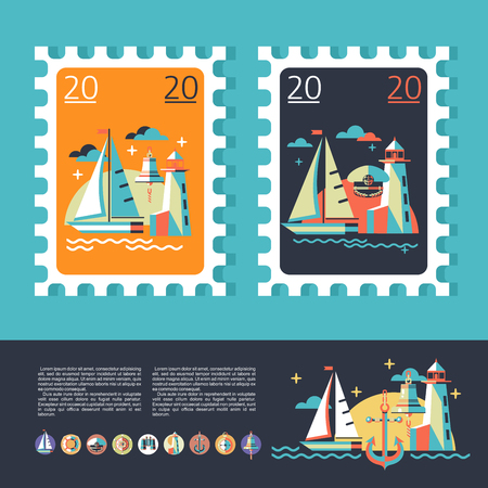 Design a postage stamp. Sea voyage on a yacht. The icons set.