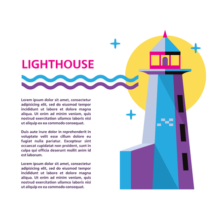 Lighthouse. Vector illustration with place for text. Isolated on a white background. Ilustração