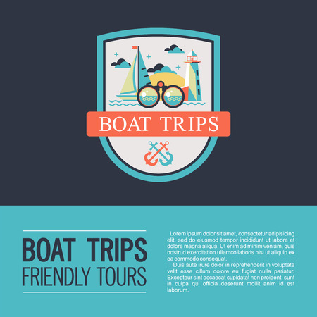 Logo vector, coat of arms. Walking on the sea on a yacht. Boat trips. Boat, lighthouse, anchor and binoculars. Ilustracja