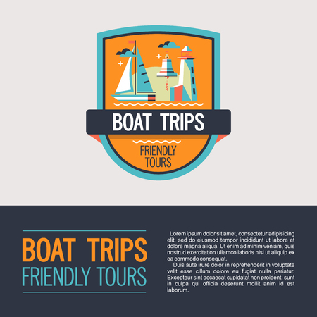 Logo vector, coat of arms. Walking on the sea on a yacht. Boat trips. Boat, lighthouse, ship s bell.