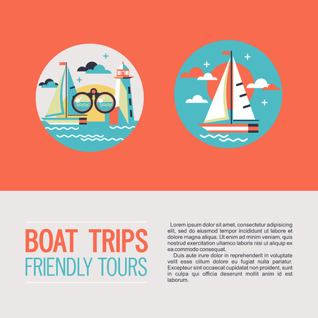 Round icons, icons. Vector clip art. Boat trips. A yacht, binoculars, lighthouse.