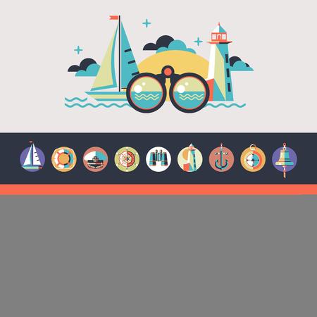 Zee loopt op een jacht. Vectorillustratie in vlakke stijl. Set van pictogrammen mariene thema.