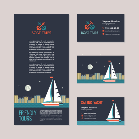Sailing yacht on the background of night city landscape. Boat trips. Vector concept of the flyer and business cards.