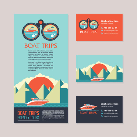 sea voyage on a yacht design flyers and business cards vector