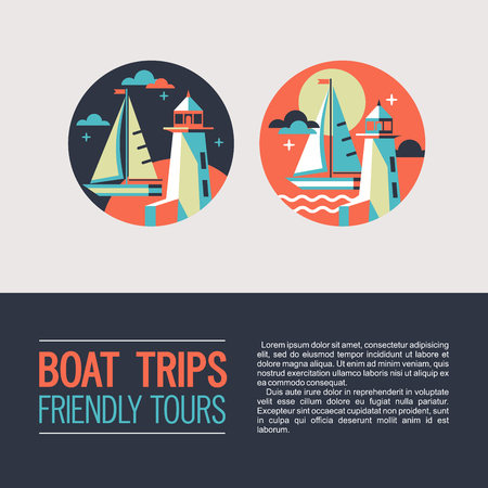 Sea walks on a yacht. Vector icons. The rest of the sea. Sailing yacht and lighthouse.