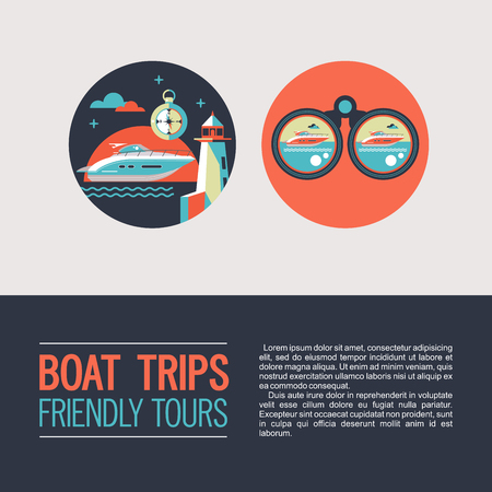 Sea walks on the yacht. Vector icons. The rest of the sea. Yacht, compass, binoculars, lighthouse. Ilustracja
