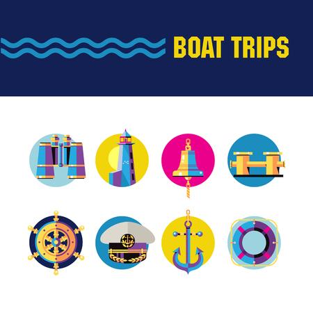 明るいベクトル ラウンドのアイコン。ボートツアーを楽しめます。双眼鏡、灯台、船鐘、船ホイール、キャプテンのキャップ、アンカー、救命浮き  イラスト・ベクター素材