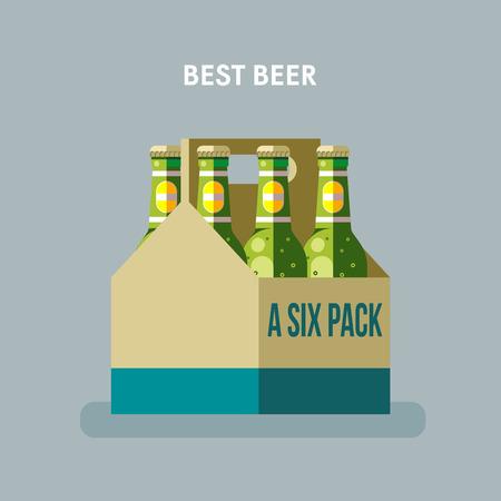 Beer bottles, a six pack Illustration