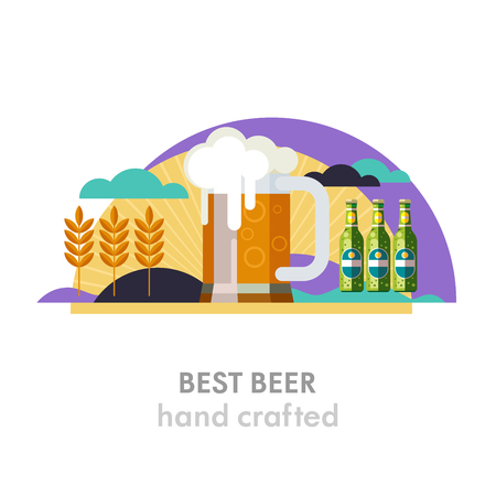 Beer mug and beer bottle. The best beer text below. Wheat field, sun, clouds. Eco-friendly products. Vector illustration in flat style.