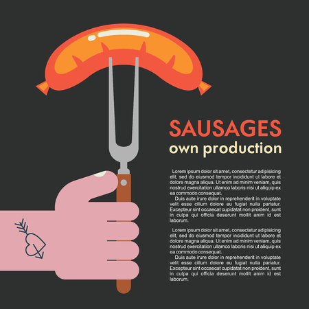 Grilled sausage on a fork in his hand. Own production. Vector illustration.
