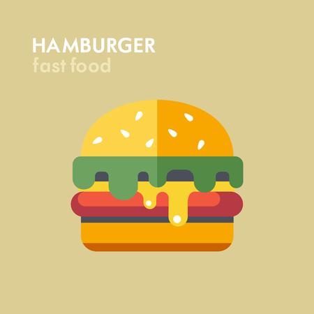 sesame: Hamburger. Vector illustration, icon. Fast food.