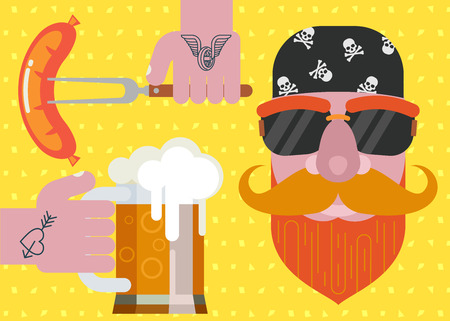 Man with a beard wearing a bandana with sunglasses. Mug of beer tattooed hand. Grilled sausage on a fork in his hand. Colorful vector illustration for poster design