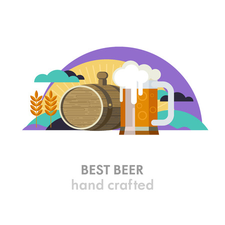 Mug of beer and a beer keg. The best beer.Wheat field, sun, clouds. Environmentally friendly products. Vector illustration in flat style.