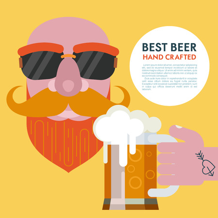 The best beer hand crafted.  A bald man with a beard in sunglasses and a mug of beer in a tattooed hand. Vector illustration with place for text. Illustration