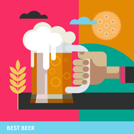 The best beer text. A hand holds a mug of beer. A colorful poster background for advertising.