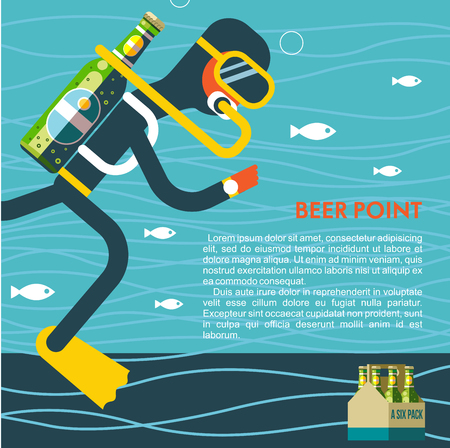 The diver with a bottle of beer instead of oxygen. Funny illustration for lovers of beer and diving with place for text. Illustration