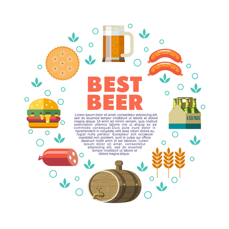 A set of beer elements are arranged in a circular design with text sign The best beer, vector illustration.