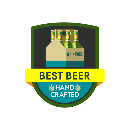 Vector illustration, icon. Packaging of bottled beer. Six pack. Hand crafted. Illustration