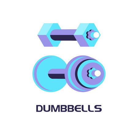 Dumbbells. Vector illustration. Isolated on a white background.