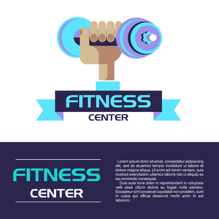heavy: Hand holding a dumbbell. Fitness center logo. Vector illustration. Isolated on a white background.