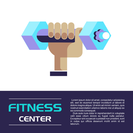 Hand holding a dumbbell. Fitness center. Vector illustration. Isolated on a white background. Ilustrace