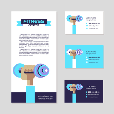 The hand holding the dumbbell. The emblem of the fitness center. Vector illustration with place for text. Corporate identity, business card, flyer. Illustration