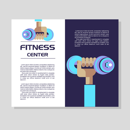 The hand holding the dumbbell. The emblem of the fitness center. Vector illustration with place for text. Flyer. Illustration