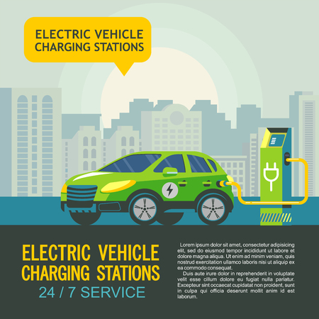 Green electric car at charging station. The background of urban landscape. Service electric vehicles. Vector illustration. Ilustracja