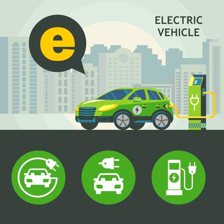 Grünes Elektroauto an der Ladestation. Der Hintergrund der Stadtlandschaft. Set vektorpiktogramme elektrisches auto.