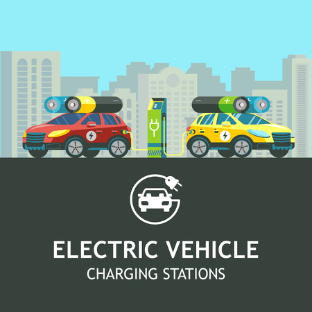 Two electric car at a charging station. On the background of the urban landscape. Vector logo electric car. Illustration