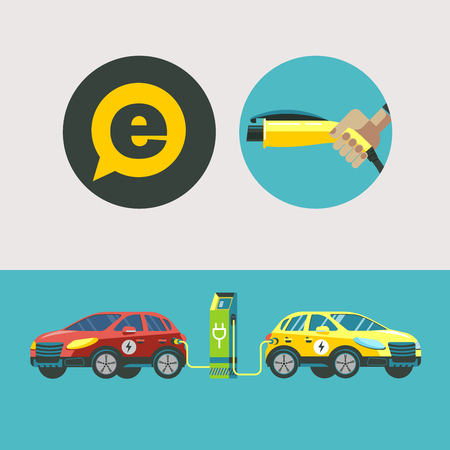 Two electric car at a charging station. Service electric vehicles. Vector illustration. Flat style. Illustration