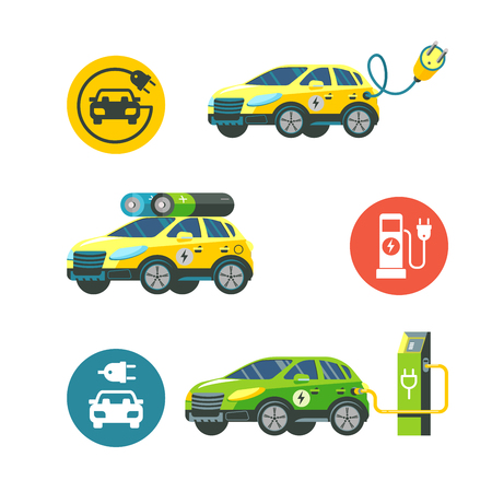 Electric car at a charging station. Service electric vehicles. Vector illustration. Flat style. Vector icons.