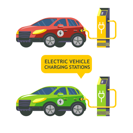 Electric car at a charging station. Service electric vehicles. Vector illustration. Flat style.