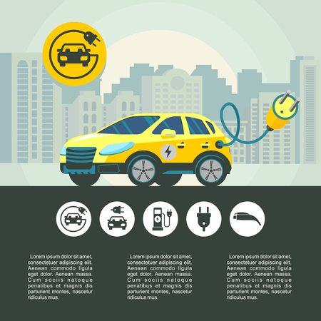Electric car on city background. City car. Vector illustration. Set of vector pictograms. Illustration