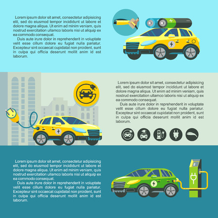 Electric car, eco-friendly modern technology. Set of banners with place for text.