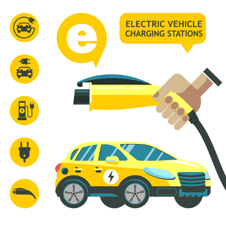Electric car. Charger for car. Service electric vehicles. Vector icons. Çizim