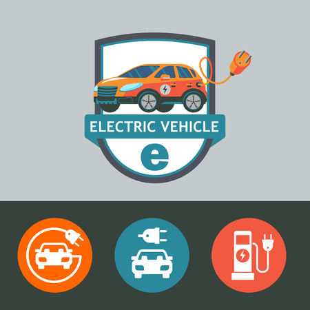 Electric car. The car with the plug. Isolated on a white background. Set of vector icons.