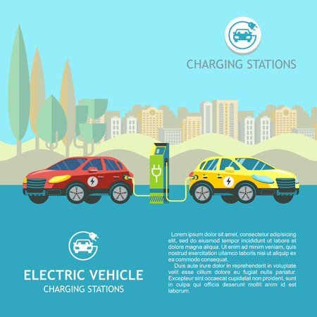 Electric cars at charging stations on the background of the urban landscape. Vector illustration. Flat style. Ilustracja