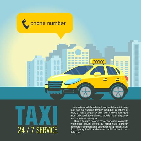 背景の高層ビルに黄色のタクシー車。タクシー サービスのベクター イラストです。  イラスト・ベクター素材