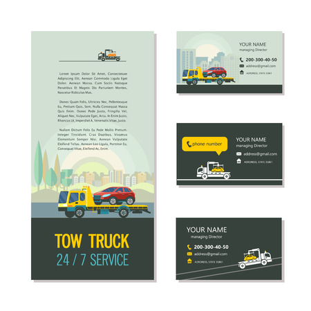 Evacuation vehicles. Tow truck for transportation faulty cars. Corporate identity design, business cards, flyers. Illustration