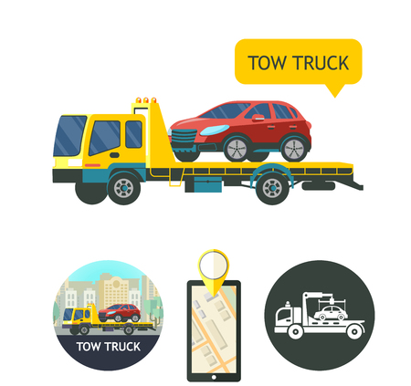 Evacuation vehicles. Tow truck for transportation faulty cars. Design logos, Icons. Phone GPS.