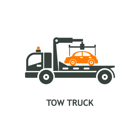 Evacuation vehicles. Tow truck for transportation faulty cars. Vector pictogram, icon. Ilustracja