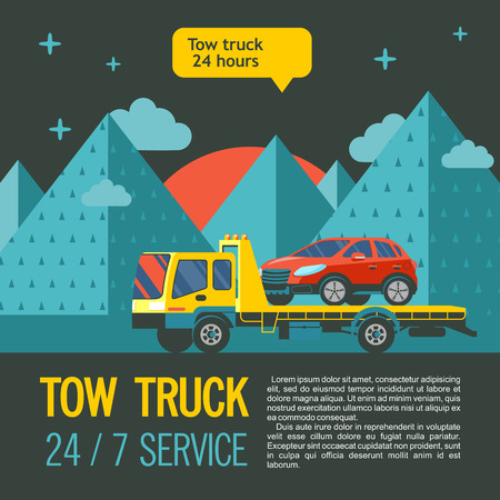 Tow truck for transportation faulty cars. Evacuation vehicles around the clock, 7 days a week. Vector illustration with place for text.