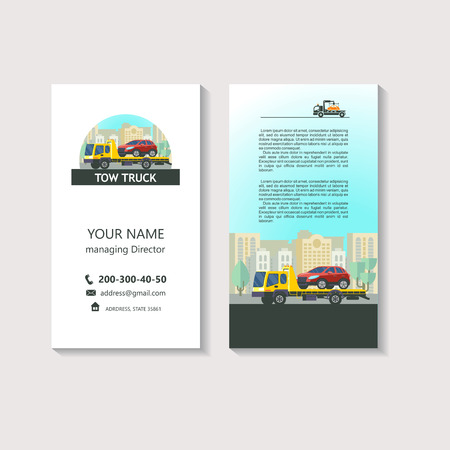 Tow truck for transportation faulty cars. Evacuation vehicles. Business card, corporate identity, flyer. 版權商用圖片 - 84955035