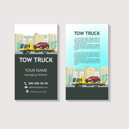 Tow truck for transportation faulty cars. Evacuation vehicles. Corporate identity design, business cards, flyers. 向量圖像